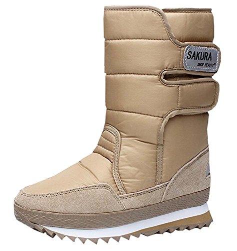 Mit Stiefel 2015 Neue Khaki Plattformfrauen Schneeschuhe Beinschuhe Hohen Wasserdichte qrrEOfx5