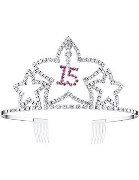 BABEYOND Mädchen Kristall Geburtstag Tiara Birthday Crown Prinzessin Geburtstag Krone Haar-Zusätze Silber Rosa...
