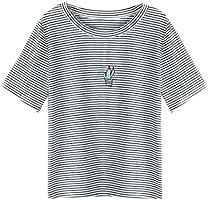 Zarupeng Kaktus Stickerei Streifen T-Shirt, Damenmode Tank Top Kurzarm Rundhals Jumper Bluse Tops Kurz Shirt