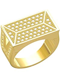 Spangel Fashion Designer 18 Ct. Gold Plated American Diamond Jewellery Ring For Men - B077VMRHPZ