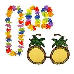 Pineapple Sunglasses & 4pc Hawaiian Multi-Coloured Lei Flower Garland Fancy Dress Set by Henbrandt