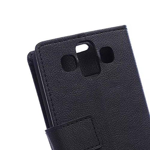 Solid Color Kas Textur Muster Leder Schutzhülle Case Horizontal Flip Stand Case mit Kartensteckplätzen für LG AKA ( Color : Purple , Size : LG AKA ) Black