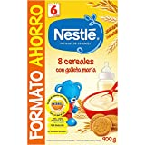 Nestlé Papilla 8 cereales con galleta María - Alimento Para bebés - Paquete de 8x900 g - Total: 7.2 kg