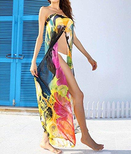 GenialES Paréo Robe de Maillot de Bain de Plage Bikini Cover Up Taille Unique Jaune