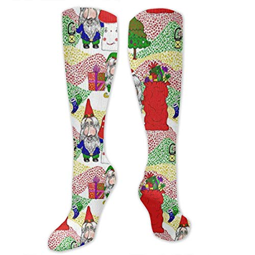 Gped Kniestrümpfe,Socken Christmas Santa, Gnome and Elf Compression Socks,Knee High Socks,Funny Socks for Women Men - Best Medical,Sports,Running, Nurses,Maternity,Pregnancy,Travel & Flight - High Elf Female Kostüm