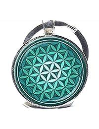 De la flor de la vida llavero verde Aqua espiritual Llavero Inspirational llavero con la geometría sagrada Meditación clave Anillo
