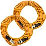 Seismic Audio Pair Of Orange 50' XLR Male To Female Microphone Patch Cables Orange - SAXLX-50Orange-2Pack