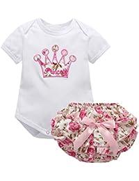 Brightup Bebé Niña Counjunto de Ropa Verano Imprimir Monos Verano Mameluco Tops y Pantalones Cortos