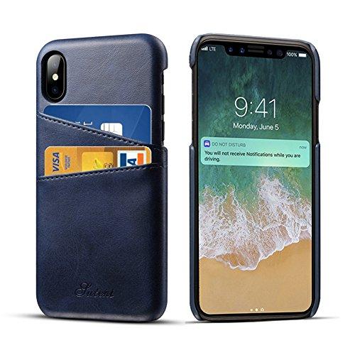 Apple iPhone X Hülle mit Kartenhalter, 2 Kreditkarten-ID-Kartensteckplätze, Ultra-dünner schützender Telefonkasten für iPhone X - Grau Blau