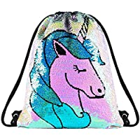 Sequin Drawstring Bag Backpack Mermaid Gym Dance Bags Magic Reversible Glitter Bag Unicorn Gift for Girls Daughter Boy Flip Sequin Bag Birthday Gift for Kids Teen