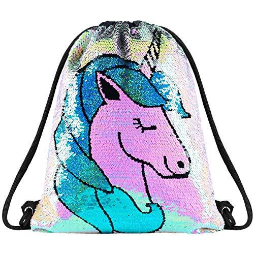 Sequin Drawstring Bag Backpack Mermaid Gym Dance Bags Magic Reversible Glitter Bag Unicorn Gift for Girls Daughter Boy Flip Sequin Bag Birthday Gift for Kids Teen (SDB-Unicorn)