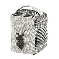 Dibor Grey Tweed Tartan 1.4kg Embroidered Fabric Stag Door Stop H20cm (B566)