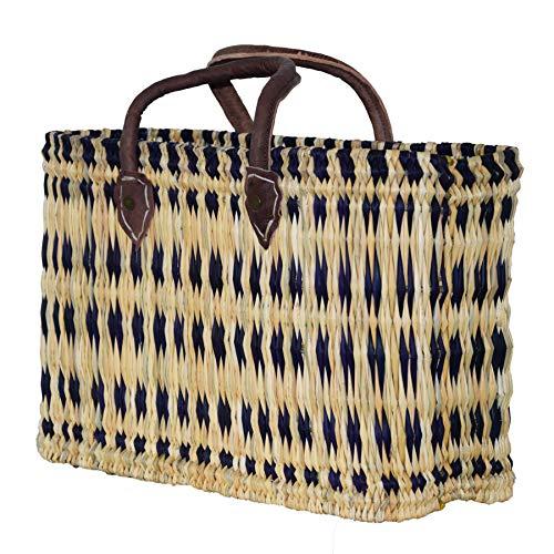 Simandra Seegras Tasche Korb Einkaufstasche Einkaufskorb Flechtkorb Korbtasche Palmgras kurzer Griff mittel Color Blau