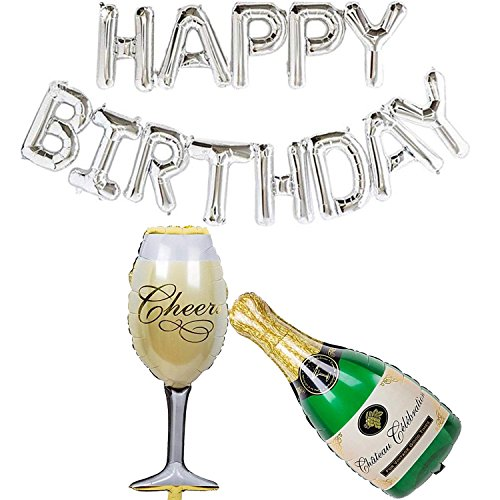 Ouinne Happy Birthday Globo de Aluminio Cumpleaños Decoraciones de Fiesta para Decoraciones de Fiesta de Cumpleaños y Suministros (Plata)