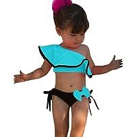 Jimmackey Costumi Bagno Bambina Ruffles Bikini Set Costume da Bagno Due Pezzi Neonata Swimsuit Una Spalla Costumi Mare…
