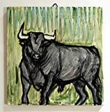 El toro-Azulejo de cerámica, hecho a mano, tamaño cm 20x20x0.8 cm, listo para ser fijado a la pared. Hecho en Italia, Toscana, Lucca. Creado por Davide Pacini.