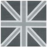 Servietten Spar-Pack (40 Stück) England London Junion Jack Grau 33x33 cm Tischdeko