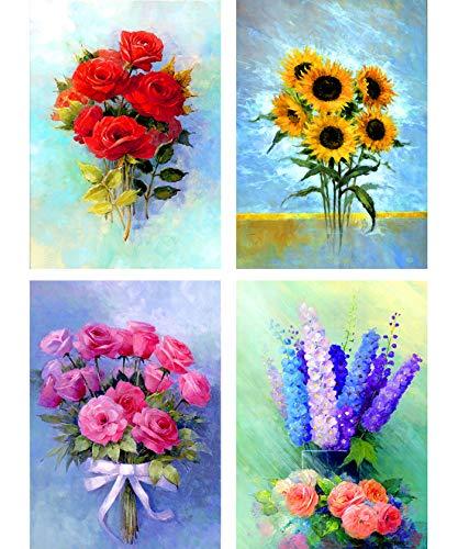 SKRYUIE 4er-Pack 5D Diamantgemälde bunte Blumen, voller Bohrer mit Diamant-Kunst, Blumenstrauß, DIY Malen nach Zahlen, Kits Kreuzstich Stickerei, Strass-Wanddekoration, 30 x 40 cm -