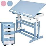 TecTake Kinderschreibtisch mit Rollcontainer Schreibtisch neig- & höhenverstellbar -diverse Farben- (Blau)