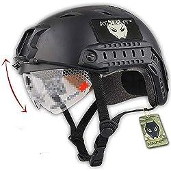 ATAIRSOFT Tactique SWAT style militaire de l'armée de Casque Combat rapide BJ Base Jump avec lunettes de protection Noir pour CQB Tir Airsoft Paintball
