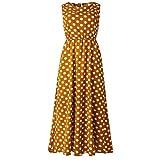 Dasongff Boho Lang Maxi Kleid Polka Dots Strandkleider Elegante Festkleider Falten Casual Swing Kleider Blusenkleid