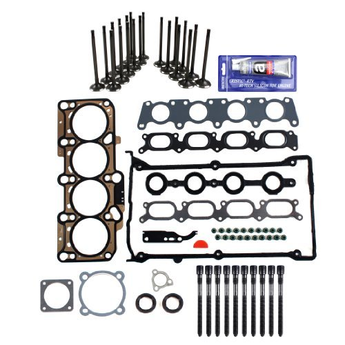 Brand New EH1652X1HBSIVKVW MLS Head Gasket Set + Head Bolt Set (Length 136mm) + Intake Exhaust Engine Valve Kit + RTV Gasket Silicone for Audi Volkswagen 1.8L 1.8T Turbocharged (20 Valve) by CNS EngineParts