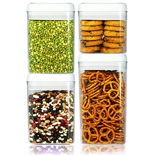 Balchy 4-teiliges Set Frischhaltedosen - luftdicht auslaufsicher mit robustem Kunststoff - BPA-frei - Gefrierschrank- & spülmaschinenfest - halten Lebensmittel trocken & frisch mit Easy Lock - Tee-ring-cookies