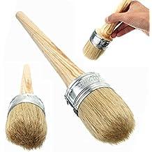 ULTNICE Cepillo de pintura de tiza Cera para pintar o encerar muebles, plantillas Folkart Decoración para el hogar Cepillos de madera grandes con cerdas naturales