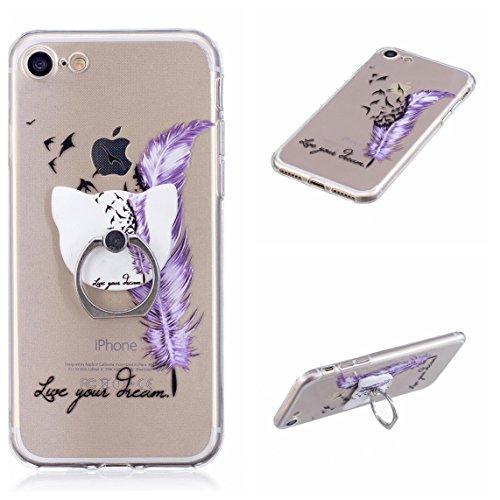 iPhone 7/iPhone 8 4.7 Hülle, Voguecase Silikon Schutzhülle / Case / Cover / Hülle / TPU Gel Skin Handyhülle Premium Kratzfest TPU Durchsichtige Schutzhülle für Apple iPhone 7/iPhone 8 4.7(Stützen-Unic Stützen-dream/lila Federn