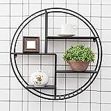 CHAOXIAN Wandregal Hängeregal Schweberegal Küchenregal Multifunktion Runden Eisen 2 Farben, Durchmesser 70cm, Breite 20 Cm (Farbe : Schwarz)