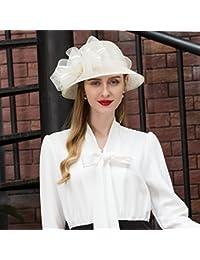 MAZY Sombrero de Jugador de Bolos Sombrero de Lino Elegante del Estilo  británico para Las Mujeres Sombrero de Vestido de Moda del… 3826a327fde