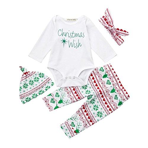Hirolan Süß 4 Stück Tops + Hosen + Hut + Stirnband Säugling Baby Stirnbänder Junge Mädchen Lange Hülse Spielanzug Weihnachten Outfits Set (70cm, Weiß 2)