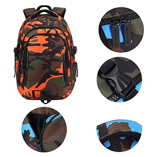 BOZEVON Jungen Mädchen Wasserdichte Rucksack für Kinder Unisex Schulrucksäcke Rucksack für Reisen, Wandern Orange-S