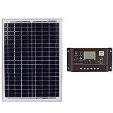 XZANTE Sonnen Kollektoren 18V20W Schwarz Sonnen Kollektoren + 12V / 24V Mit USB Schnittstellen Controller Solar Batterie Betrieb (10A)