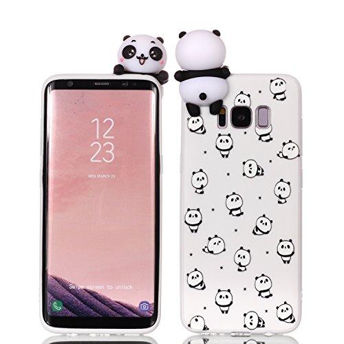 HUDDU Compatible for Samsung Galaxy S8 Plus Xmas Hülle Weiß Transparente Weihnachten Schutzhülle TPU Silikon Back Cover Dünn Protective Case 3D Karikatur Christmas Samsung Galaxy S8 Plus Panda