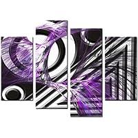 4Lynxart Panel Tamaño Total 92x 70cm lienzo pared arte moderno abstracto imagen impresión DE triángulo grande, color morado