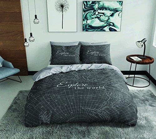 SASA Craze Entdecke die Welt anthrazit 100% Baumwolle Bettbezug Bettwäsche-Set mit Kissen Fällen, anthrazit, King Size (Welt-bettwäsche-set)