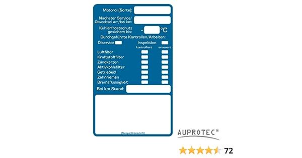 Auprotec Kundendienst Aufkleber Werkstatt Serviceaufkleber Auswahl 100 Stück Inspektionsaufkleber Auto