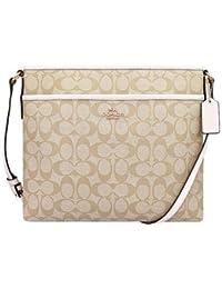 Coach Women's Signature File Crossbody Bag Cream