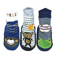 BOMPOW Baby Slipper Socks Toddler Kids Anti-slip Floor Socks for 0-24 Months Old Baby 3 Pack (18-24 Months)