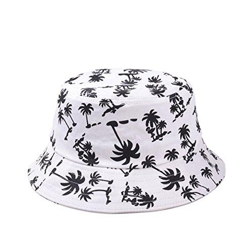 TININNA Estivo Unisex Coconut Tree Stampe Cotone Bucket Hat Cappello da Pescatore Berretti Visiera di Sole Spiaggia Cappello di Sun(Bianco)