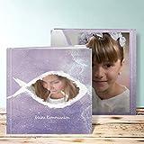 Kommunion Fotobuch, Fisch im Wasser 28 Seiten, Hardcover 215x215 mm personalisierbar, Lila