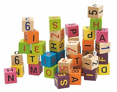 Woodyland BLOQUES ladrillos de construcción Bloques Números Cartas BLOQUES DE MADERA 40tlg madera. WOODY