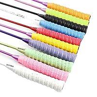 SITAKE 10 PCS Racquet Grip, 110 cm/43.3 in Tape Overgrip for Tennis/Badminton/Fishing Rods/Bicycle Handlebars/Skip Rope Handles (10 Colors)