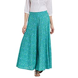 Panit Sea Green Stylish Flared Plazzo Trousers Extra Large
