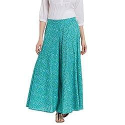 Panit Sea Green Stylish Flared Plazzo Trousers Medium