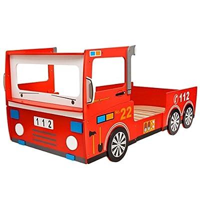 vidaXL Cama para Niños Camión de Bomberos Dimensiones 200x90 cm Tablero DM Rojo