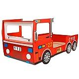 Festnight Struttura Letto/Lettino in legno per Bambini Macchina/Camion dei Pompieri 200x90 cm Rosso