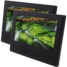 Par de 8 pulgadas de alta definición TFT LCD digital de pantalla doble cabeza del coche de ultra-delgado diseño portátil de DVD Soporte de monitor de vídeo y USB / SD de FM Auriculares por infrarrojos Incluir control remoto