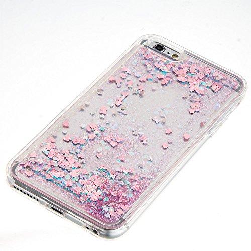 Skitic Liquid Hülle für iPhone 5 / 5G / 5S / SE, Kreativ Transparent Glitter Weiche TPU Handyhülle Cool Fließen Flüssig Bling Schwimmend Treibsand Stern Tasche Luxus Shiny Kristall Case Cover Schutzhü Rosa